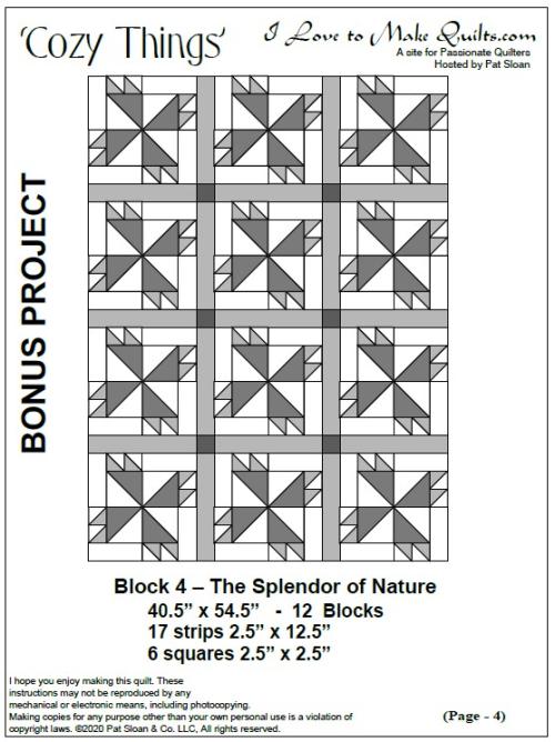 Pat Sloan Block 4 cozy things bonus layout