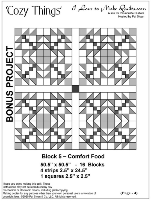 Pat Sloan Block 5 cozy things bonuslayout