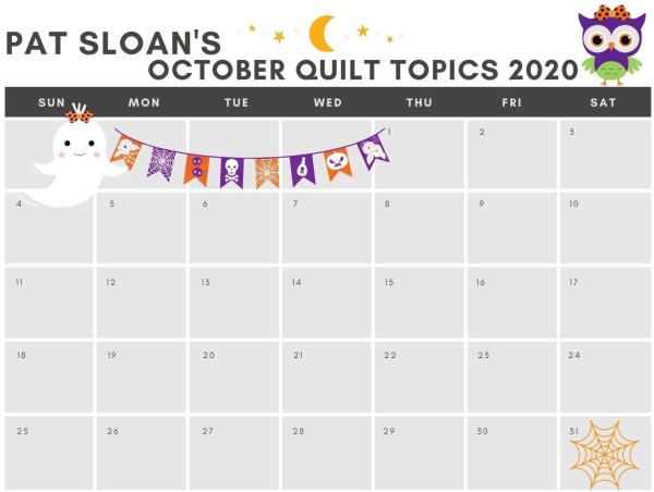 Pat sloan Oct 2020 calendar