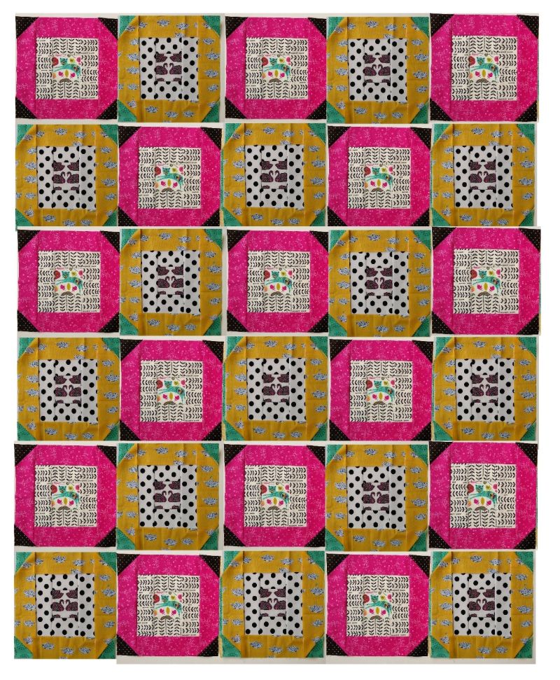 March Block a Day pink yellow teal