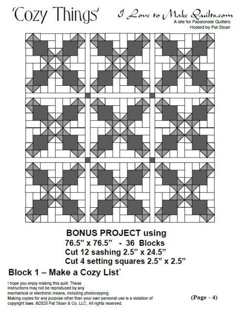 Pat sloan block 1 bonus project
